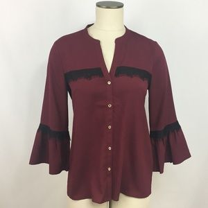 Karl Lagerfeld Button Up Blouse Small Burgandy
